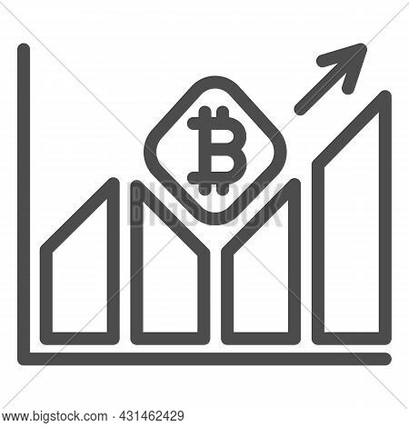 Graph Of Bitcoin Value Growth Line Icon, Cryptocurrency Concept, Btc Rate Surging Vector Sign On Whi
