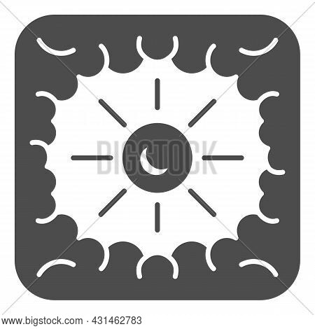 Sun Shine Through Clouds Solid Icon, Weather And Climate Concept, Sunshine Cloudy Sky Vector Sign On