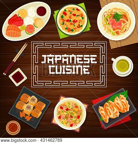 Japanese Food, Asian Cuisine Dishes And Lunch Meals, Vector Restaurant Dinner Menu Cover. Japanese C