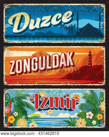 Duzce, Zonguldak And Izmir Il, Turkey Provinces Vintage Plates. Turkish Republic Travel Grunge Signs