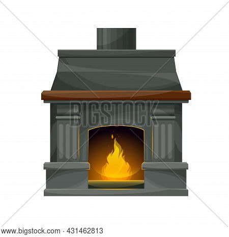 Modern Interior Fireplace With Burning Fire. Vector Fire Place, Hearth Or Stove With Gray Stone Wall