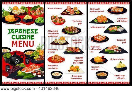 Japanese Cuisine Restaurant Menu Template. Assorted Salmon, Kenko Yaki And Shish Kebab, Mandarin In