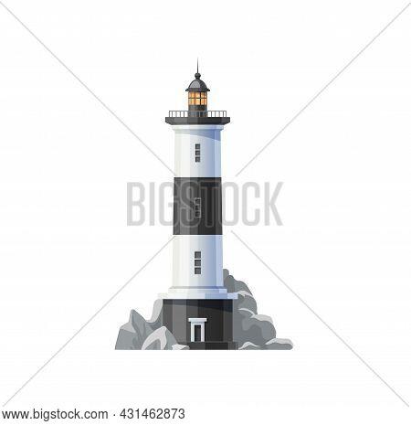 Sea Lighthouse Of Ocean Beach Vector Icon. Beacon Tower Building With Nautical Navigation Searchligh