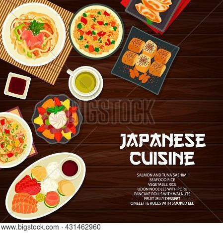 Japanese Cuisine Menu Cover, Asian Food Dishes And Meals, Vector Restaurant Lunch Poster. Japanese T