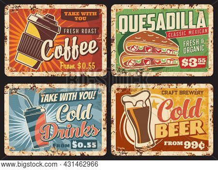 Fast Food Metal Plates Rusty, Drinks And Snacks Menu Vector Retro Posters. Breakfast Coffee And Cold