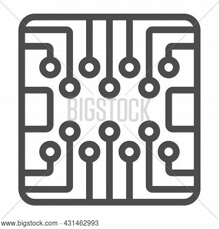 Pcb Layout Square Shape Chip Line Icon, Electronics Concept, Printed Circuit Board Vector Sign On Wh