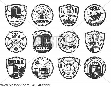 Coal Mining Icons. Mining Industry, Fossil Fuel Production And Mining Engineering Vintage Symbols Or