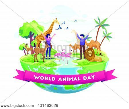 People Celebrate World Animal Day. Animals On The Planet, Wildlife Day With The Animals. Vector Illu