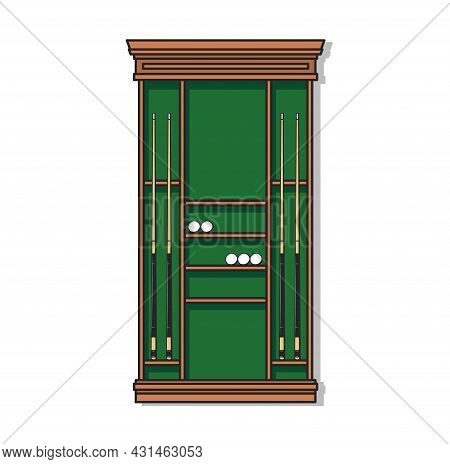 Brown Pool Cue Rack With Vector Billiards Sport Game Balls And Cues. Billiard Sporting Equipment Of