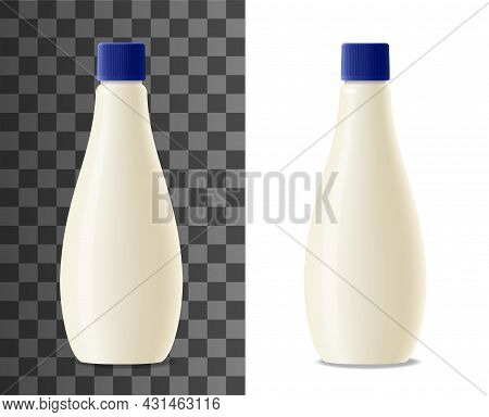 Mayonnaise Plastic Bottle Realistic Packaging Mock Up. Milk, Yogurt Or Cream Dairy Products Blank Pa
