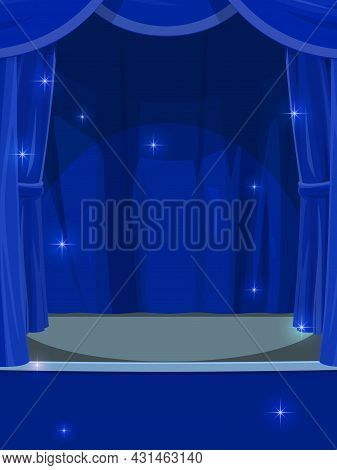 Blue Curtains On Stage. Circus Or Theater Empty Stage With Opened Drapery, Cartoon Vector Background