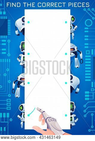 Find The Piece Of Robot Kids Maze Game. Match The Halves Vector Test With Cartoon Cyborgs, Androids,