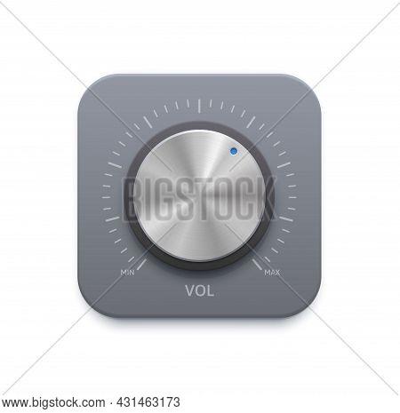 Metallic Music Sound Knob Button Icon. Stainless Steel, Chrome Metal Or Aluminum Volume Control Dial