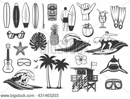 Surfing Board, Ocean Wave And Beach Vacation Icons. Surfer Riding Board, Sunglasses And Pineapple, C