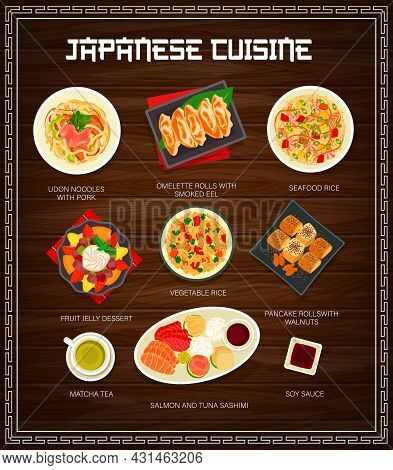 Japanese Food And Asian Cuisine Menu Dishes, Vector Restaurant Lunch And Dinner Meal. Japanese Cuisi