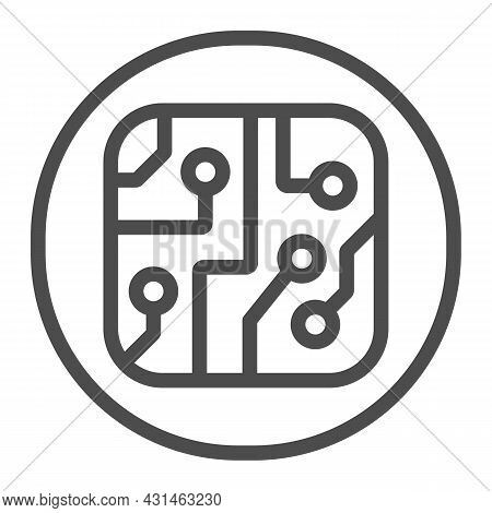 Pcb Layout In Circle Line Icon, Electronics Concept, Printed Circuit Board In Circle Vector Sign On