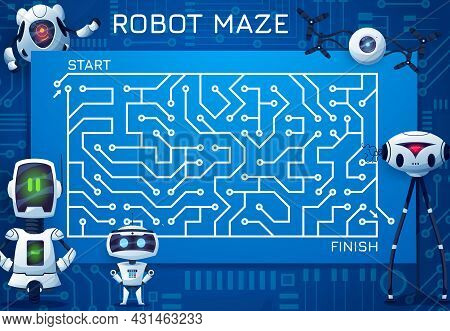 Labyrinth Maze Game With Motherboard And Robots. Cartoon Kids Vector Boardgame, Find Correct Way Tes