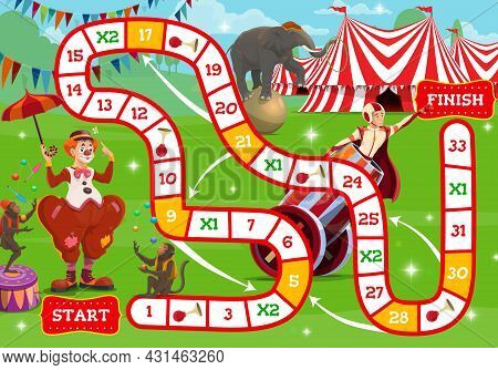 Circus Boardgame, Shapito Circus Characters Near Big Top Tent. Vector Step Game For Kids With Number