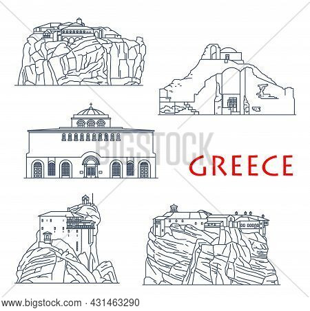 Greece Architecture Buildings, Antique Greek Churches And Temples, Vector Travel Landmarks. Greece H