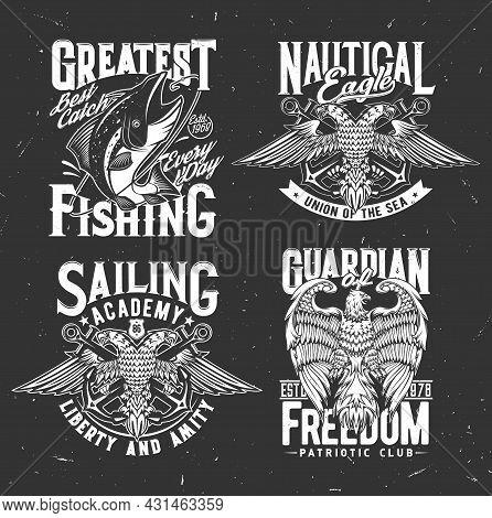 Nautical Heraldry, Anchor And Eagle, Fishing Club Marine Emblems. Heraldic Badges Of Fishing Club Wi