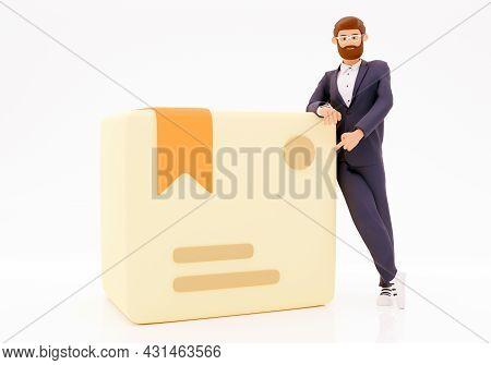 Happy Cartoon Character White Background With Cardboard Box. Online Shopping And Delivery Concept. 3