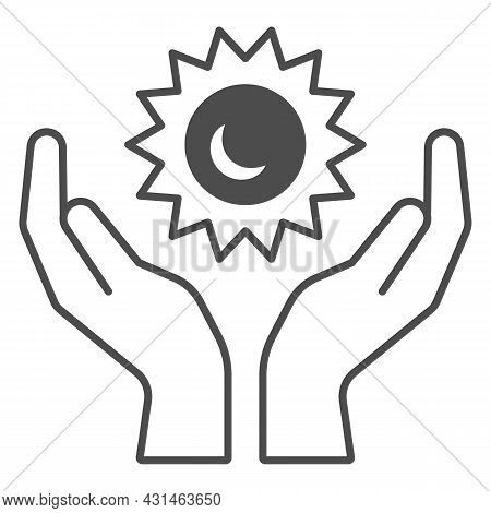 Sun In Open Hands Solid Icon, Weather And Climate Concept, Sunshine In Arms Vector Sign On White Bac