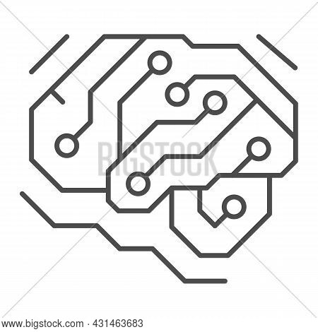 Fragment Of Analog Circuit In The Form Of A Brainthin Line Icon, Electronics Concept, Pcb Vector Sig