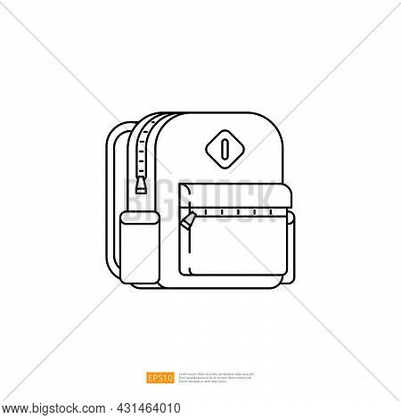 Schoolbag Or Backpack Object With Outline Line Style Vector Illustration