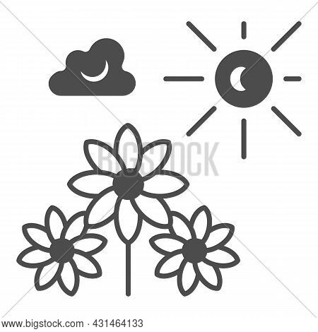 Sun Illuminate Flowers, Cloud, Sky Solid Icon, Nature Concept, Sunshine And Bloom Vectror Sign On Wh