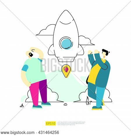 Start Up Business Launching Concept With Spaceship Rocket And Cartoon Character Team. Innovation Tea