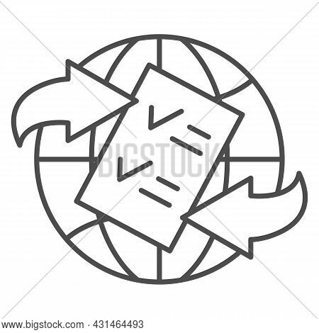 Globe, Arrow, Checkmark, Papper Form Thin Line Icon, Documetns Concept, Legal Tourism Vector Sign On