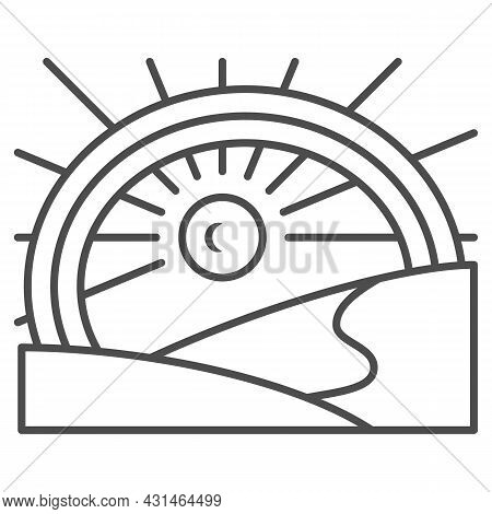 Sun Under The Rainbow In The Field Thin Line Icon, Nature Concept, Sunshine And Landscape Vector Sig