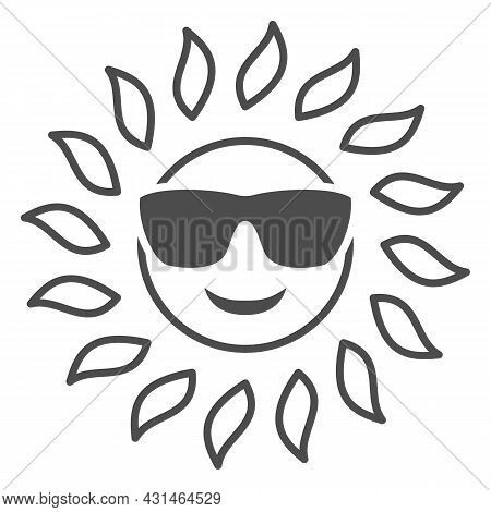 Sun In Glasses Solid Icon, Weather And Climate Concept, Sunshine In Spectacles Vector Sign On White