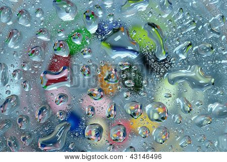 Colorful Water Drop On Glass Background