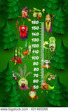 Kids Height Chart With Cartoon Wizard Vegetables, Vector Growth Meter. Kids Height Chart Or Measure