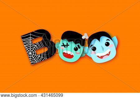 Happy Halloween. Boo. Monsters. Smile Dracula, Frankenstein. Funny Spooky Vampire. Web. Trick Or Tre