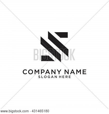 S Or Ss Initial Letter Logo Design Vector On White Background.