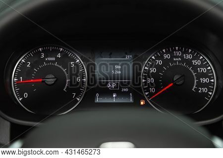 Novosibirsk, Russia - July 28, 2021: Renault Duster, Close Up Instrument Automobile Panel With Odome