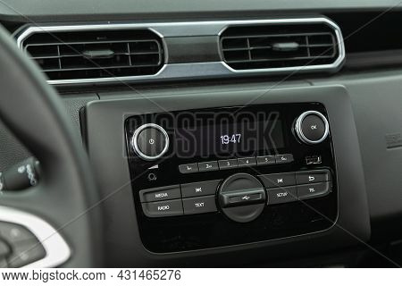 Novosibirsk, Russia - July 28, 2021: Renault Duster, Car Control Panel Of Audio Player And Other Dev
