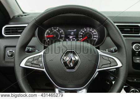 Novosibirsk, Russia - July 28, 2021: Renault Duster, Steering Wheel With  Logo    And  Speedometer A