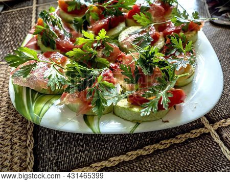 Fried Slices Of Zucchin On A Platter
