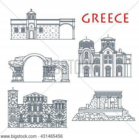 Greece Architecture, Antique Greek Buildings, Vector Travel Landmarks. Panagia Chalkeon And St Demet