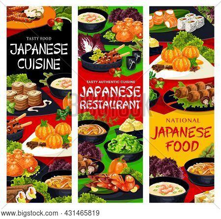 Japanese Food Restaurant Dishes Banners. Sweets With Tangerines, Noodle And Shrimp Soup, Shish Kebab