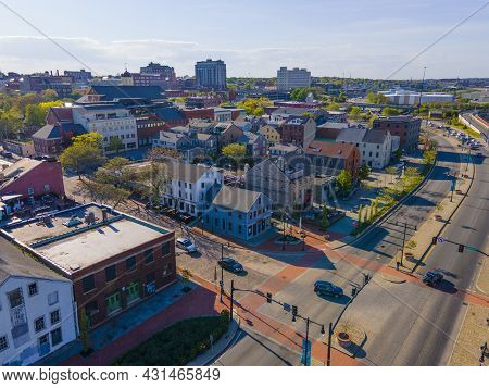 Aerial View Of Historic Downtown New Bedford At Front Street And Union Street Near New Bedford Whali