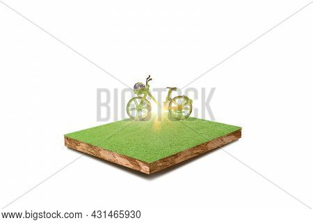 Green Ecological Bicycle On Grass Field Isolated On White Background. Environmentally Friendly Conce