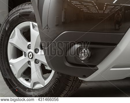 Novosibirsk, Russia - July 28, 2021: Renault Duster, Close-up Of Fog Lights In The Bumper