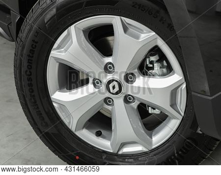 Novosibirsk, Russia - July 28, 2021: Renault Duster, Close Up Of Car Wheel