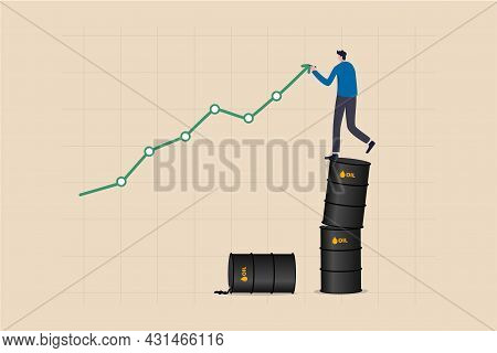 Oil Price Rising Up, Crude Oil Commodity Price Growth After Crisis, High Demand Or Energy Or Gasolin