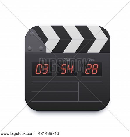 Movie Clapper Board, Video Record Interface Icon, Vector Tv And Online Cinema App. Movie Theater Or