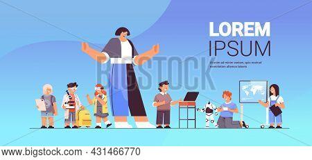 Schoolchildren Group With Female Teacher Education Concept Horizontal Full Length
